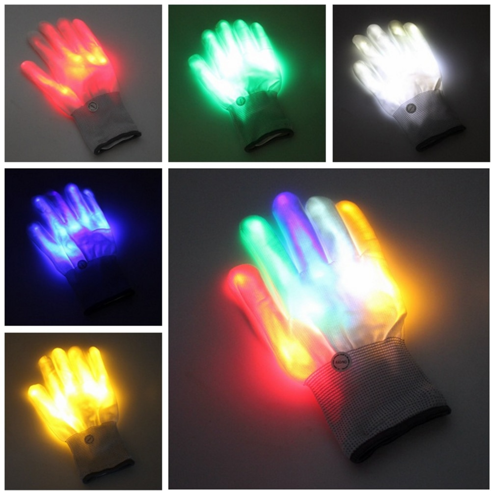 Пара крутых светодиодных мигающих перчаток для взрослых и детей, светящийся светильник на кончике пальца, светильник, перчатки для рождест...