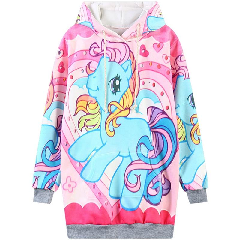 Harajuku 3D Impressão Pequeno Unicórnio Camisolas Menina Moda Feminina little Pony Rainbow Dash Cavalo Hoodies Casaco Com Capuz Desenho Animado Com Capuz & chapéu