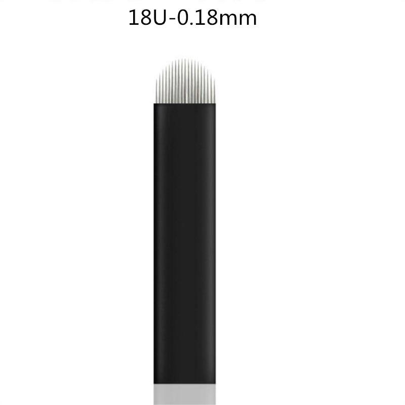 500PCS 0.18mm Black 18 U Laminas Agulhas Tebori Microblading Blades Permanent Makeup Tattoo Needle For Eyebrow Manual Pen