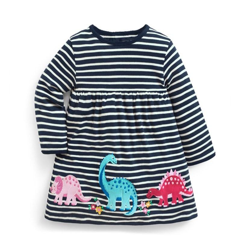 Jumping meters, vestidos de dinosaurio para bebés, ropa de otoño para niñas, apliques de animales, vestidos de otoño para niños, vestido de rayas de manga larga para niños