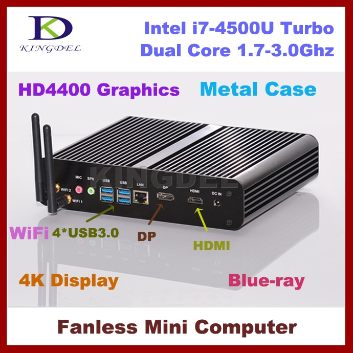 Envío libre sin ventilador Intel i7-4500u Mini PC htpc, Barebone, 4096*2160, 4 * USB 3.0, wiFi, HDMI, 4 K, Blue-Ray, DirectX 11 apoyado