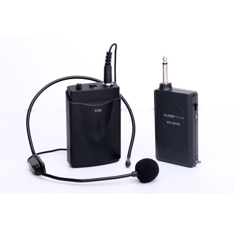 Auricular VC-201B Mini Tie Clip-on o cabeza en micrófono receptor inalámbrico y transmisor micrófono de cuello inalámbrico
