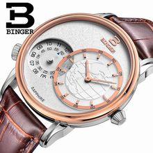 Véritable suisse BINGER marque hommes quartz saphir montre série voyageur bracelet en cuir étanche deux fuseaux horaires multiples GMT