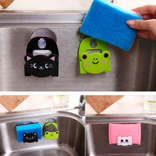 Creative New Mini Bathroom Shelves Soap Holder Carton Print Dish Cloth Sponge Holder With Suction Cup Storage Holder