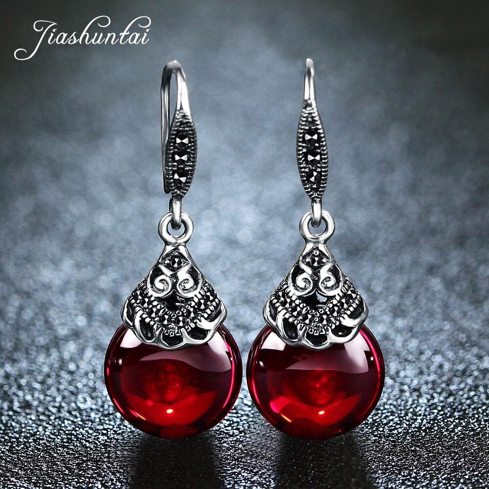 Jiashuntai 100% 925 brincos de prata esterlina para as mulheres retro redondo pedras naturais brincos do vintage thai jóias de prata melhor presente