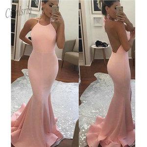 2020 New Arrival Halter Mermaid Long Evening  Dress Open Back Evening Dress Pink Party Dress Long vestido fiesta
