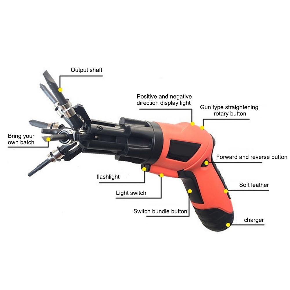 Juego de Mini destornillador eléctrico 6 en 1, batería de litio integrada recargable de precisión multifuncional inalámbrica con luz de trabajo