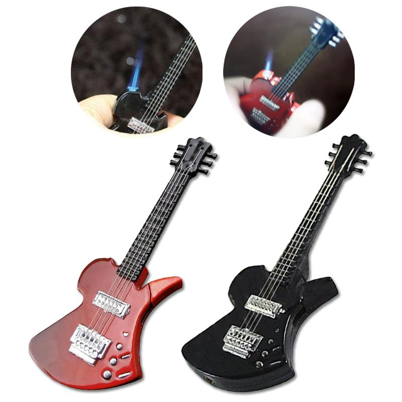 Isqueiros de cigarro 3 cores fumar personalidade guitarra forma mais leve collectibles portátil durável jet chama tocha liga presentes