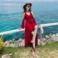 2020 spring new seaside resort beach dress was thin straps sexy strapless chiffon dress strap dress