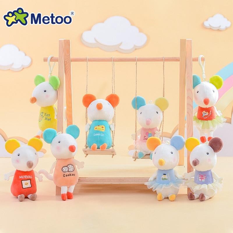 Mini muñeca Metoo, juguetes de peluche, animales de peluche para niñas, bebé, suave, lindo ratón, pequeño llavero colgante para niños, regalo de Navidad