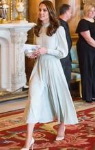 New Kate Middleton Princess Chiffon dress vintage elegant Lantern Sleeve long Pleated dresses 4125