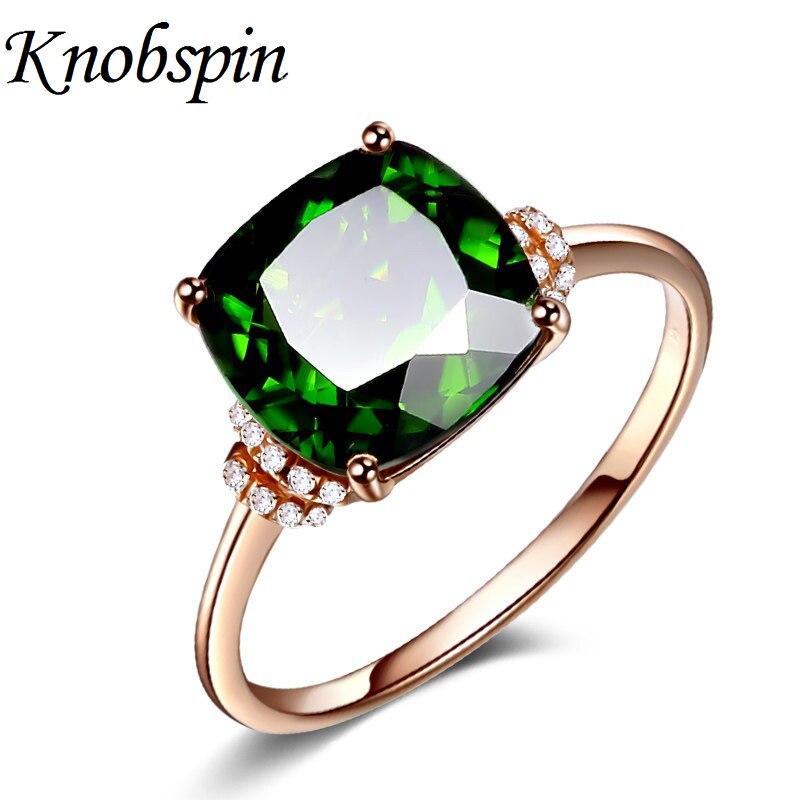 Anillo sencillo de moda de Color rosa dorado para mujer con circonita cúbica verde, anillo para dedo, anillo de boda, joyería para fiesta diaria