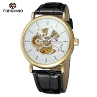 forsining mens new arrival designer automatic movement leather fashion casual skeleton branded factory wristwatch fsg8133m3