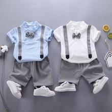 Летняя одежда для маленьких мальчиков, футболки с короткими рукавами, топы с галстуком-бабочкой + шорты, детские повседневные комплекты оде...