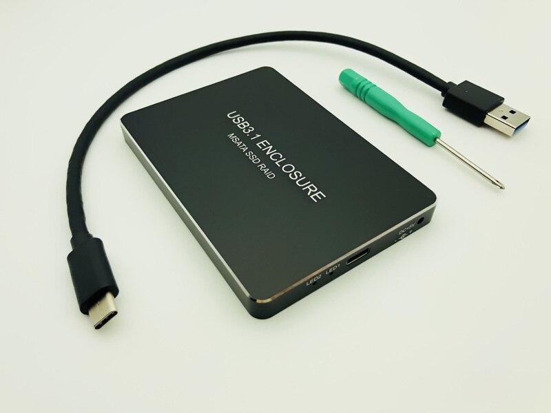 Carcasa SSD USB-C USB 3,1 tipo C a Dual 2 puertos MSATA SSD Raid 0 1 PM caja de disco duro móvil carcasa HDD adaptador 3030 3050