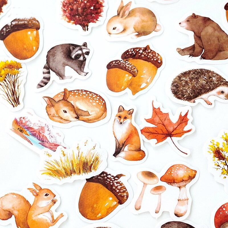 46 unidades/pacote adesivo de papel decorativo outono floresta animais etiqueta memo adesivos kawaii scrapbooking escolar papelaria adesivos