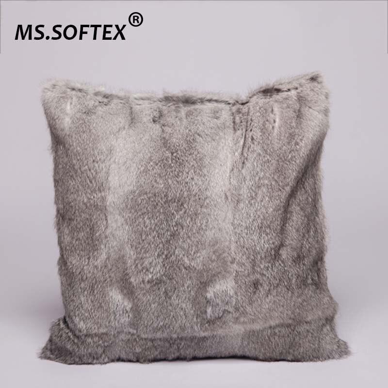 MS. Softex conejo auténtico cubierta de cojín de piel al por mayor funda de almohada de piel de conejo funda de almohada de piel Natural decoración del hogar envío gratis