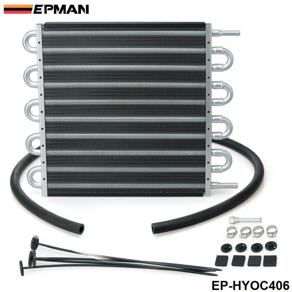 10 Row  Black Aluminum Remote Transmission Oil Cooler/Auto-Manual Radiator Converter Kit EP-HYOC406