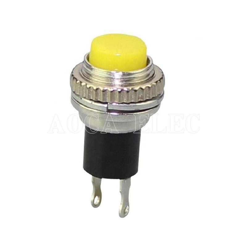 Botón pulsador de 100 Uds., DS-314, 10mm, apagado-(encendido), 250V, 0,5 a, Interruptor pulsador metálico táctil, Micro Interruptor de reinicio automático boton Poussoir