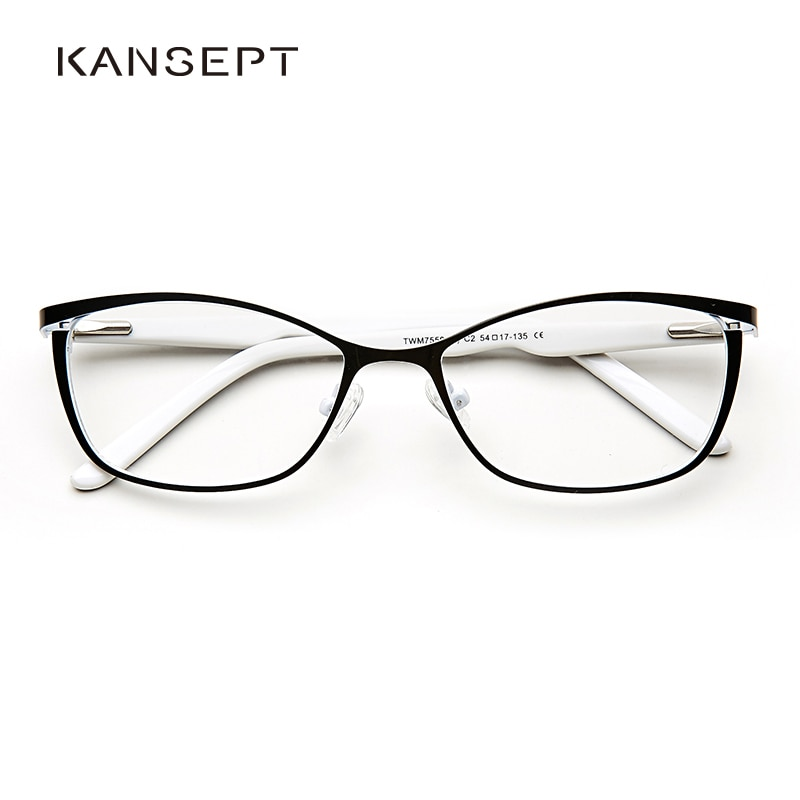 Metal Women Cat Eye Glasses Frames For Women Vintage Spectacles Transparent Black and White Eyeglasses Frames#TWM7559C2