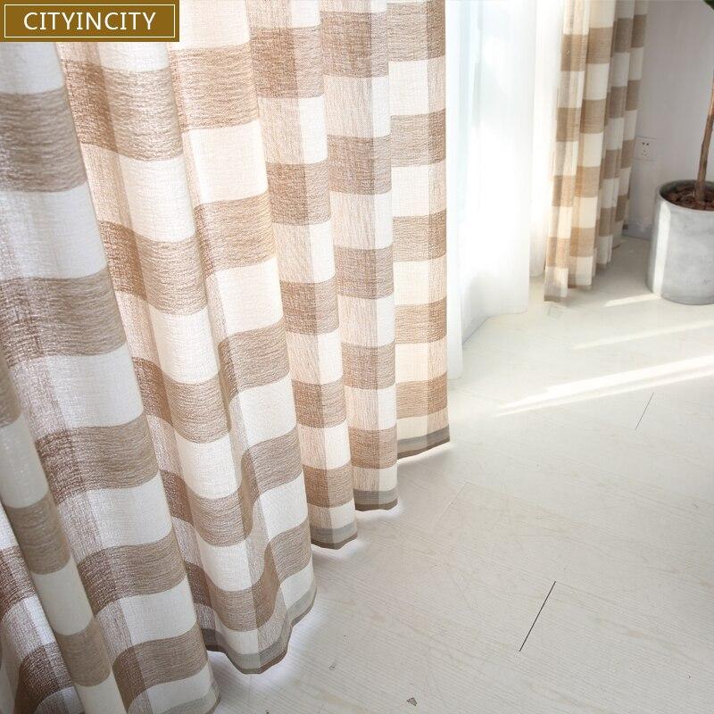 CITYINCITY, tartán, decoración de cortinas para el hogar, hilo teñido, cortinas de lino falso Darpe para dormitorio, sala de estar, ventana Rideaux, personalizado