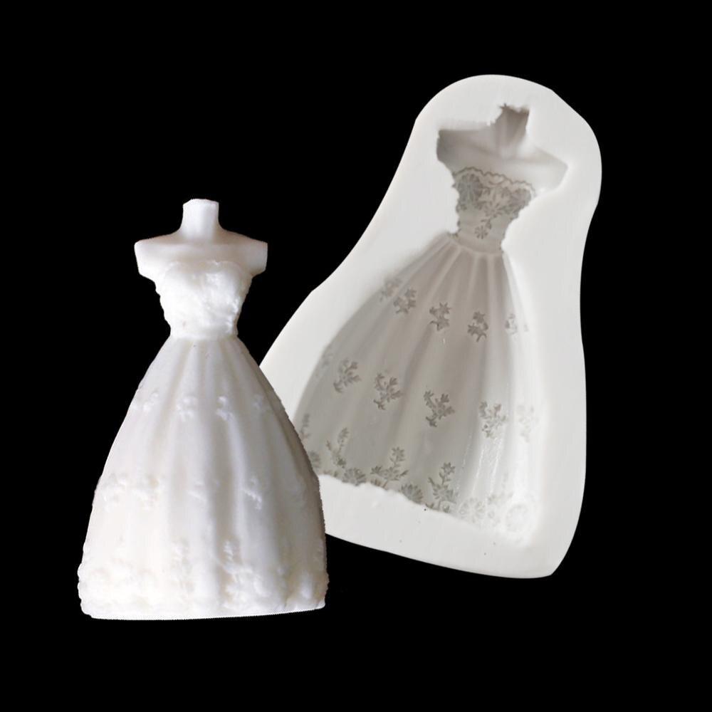 Señora chica cuerpo vestido de boda moldes de silicona Fondant jabón molde de epoxi pastel utensilios de decoración para hornear DIY Chocolate azúcar de galleta