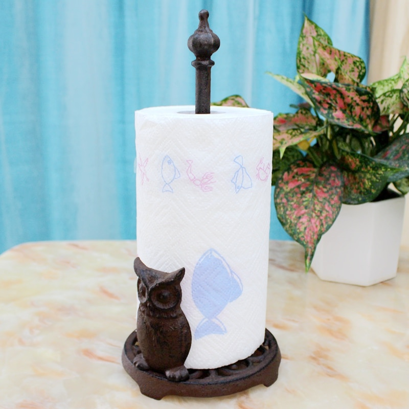 Búho de hierro fundido de la servilleta de papel de tejido titular rústico Vintage de rollo de papel higiénico titular acentos Casa de centro de mesa de papel Rack