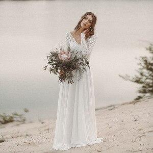 Boho Wedding Dresses 2020 Floor Length V Neck Lace Backless Beach Bohemian Chiffon Bride Dress Wedding Gowns  Robe De Mariage