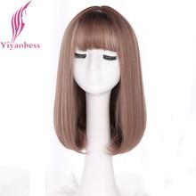 Yiyaobess-perruque synthétique Style coréen   Perruque Bob mi-long avec frange, cheveux lisses lin gris naturel avec racines foncées, perruque Ombre pour femmes