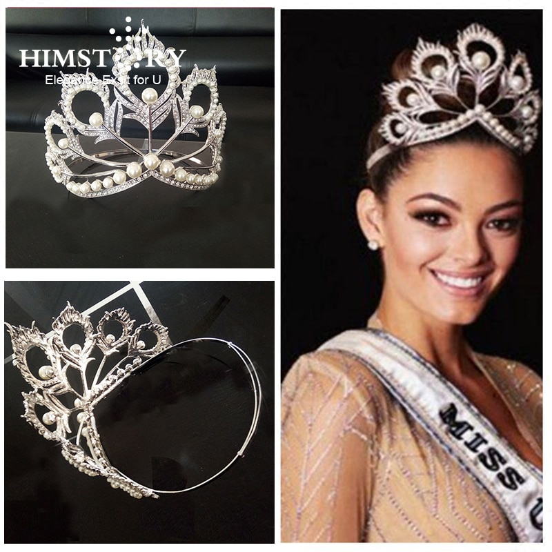 Himstory nova chegada tamanho grande miss universo mesma coroa redonda completa ajustável branco pérola peakcock pena tiara pageant