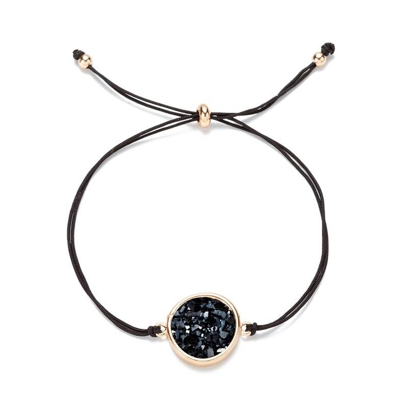 6 cores círculo redondo druzy drusy pulseira de resina do falso druse pedra corda ajustável corda amante amizade pulseira jóias