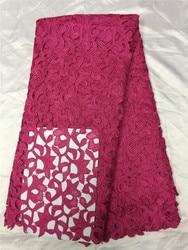 Fussical rosa puro laço cupion água souble tecido de renda, cabo africano tecido de renda alta qualidade para vestido renda nigeriana