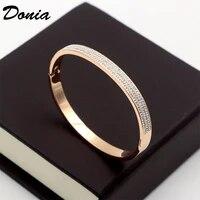 donia jewelry fashion half circle three rows full zircon rose gold dark buckle bracelet titanium steel rose gold ladies bracelt