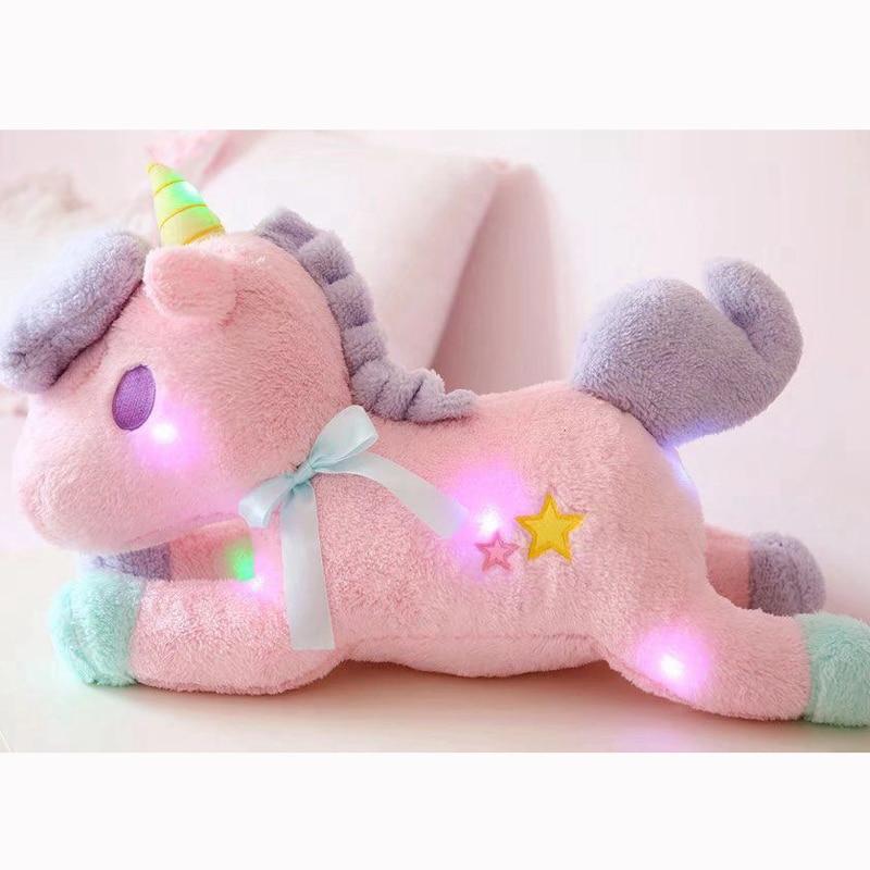 Nooer Luminous Led Light Stuffed Unicorn Plush Toy Soft Flashing Stuffed Animal Unicornio Doll Children Kids Birthday Gift