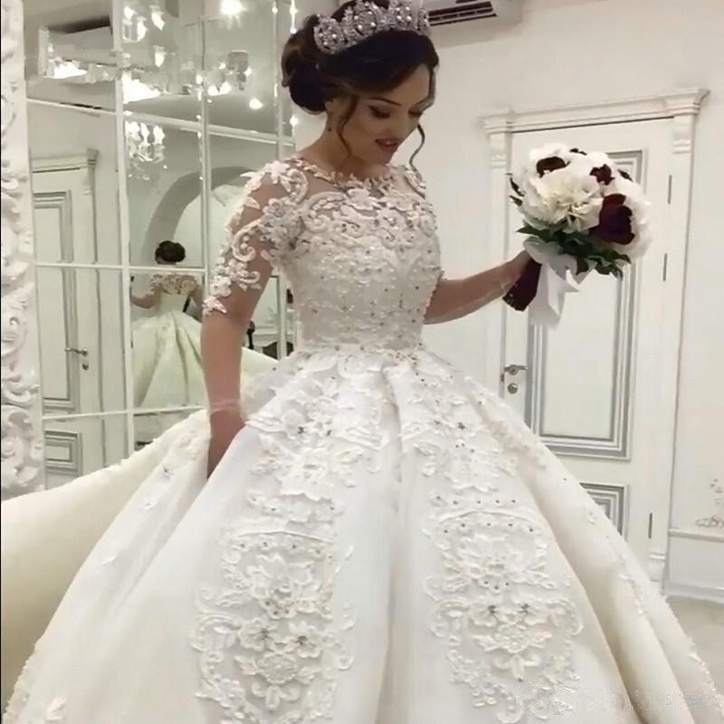 فستان زفاف أميرة عتيق ، فستان زفاف عربي ، لؤلؤ ، دانتيل ، نصف كم ، إسلامي ، 2020