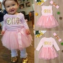 0-24M Baby Girl Dress Pink Lace Tutu Dress Girls Red White Striped One Letter Print Baby Dress Kid Children 1 Year Birthday Gift