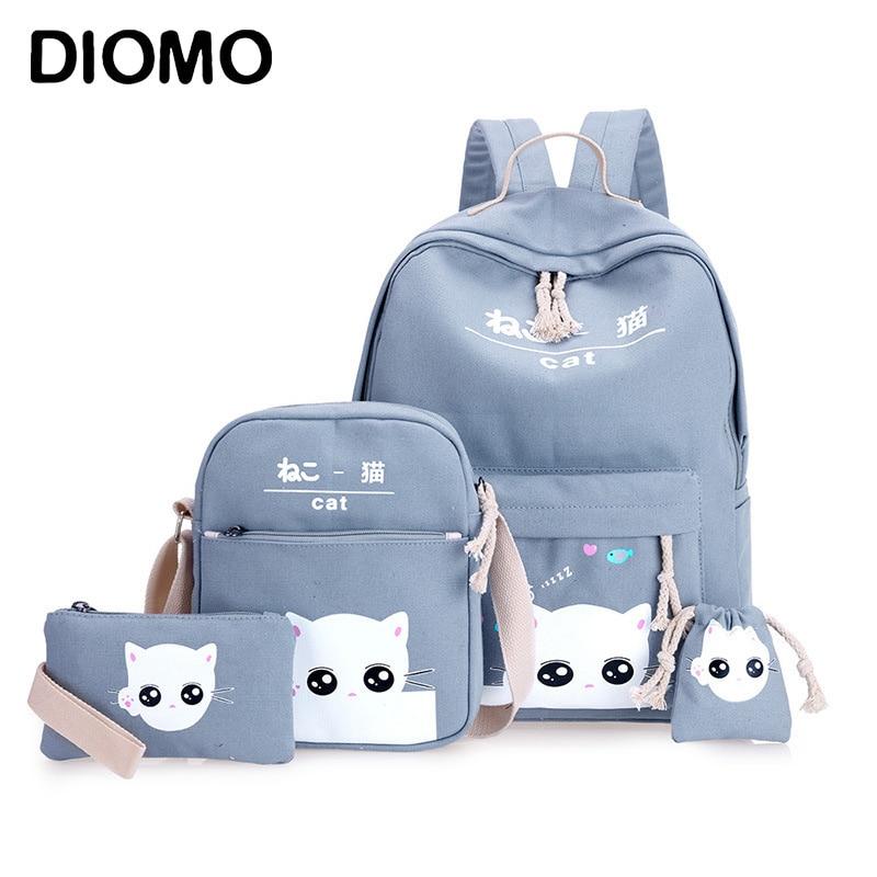 DIOMO 4pcs/Set Laptop School Backpacks for Girls Boys Teenagers Female Bagpack Sac A Dos Femme Cute