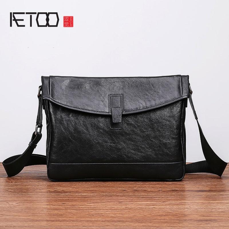 AETOO Shoulder bag mens leather trend fashion cross section postman cowhide casual diagonal