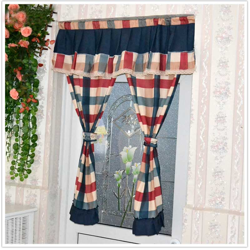 Красивые Современные занавески, клетчатые кухонные занавески для дверей, Комплект штор из хлопковой ткани, Короткие домашние декоративные ...
