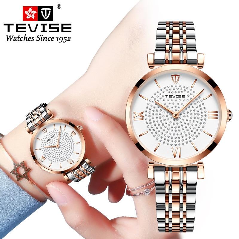 New TEVISE Women Luxury Brand Watch Simple Quartz Lady Waterproof Wristwatch Female Fashion Casual W