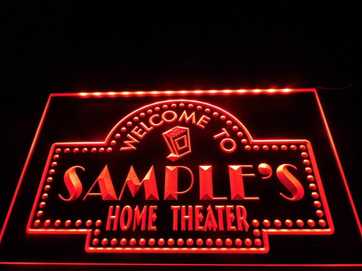 Dz009-nome personalizado personalizado casa teatro barra sinal de néon pendurar sinal de decoração de casa artesanato