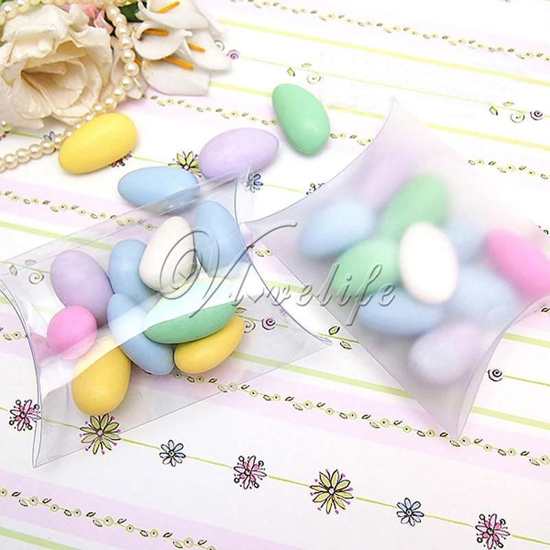 100 pçs/lote novo estilo travesseiro forma doce caixa de doces embalagem caixa de presente para festa de casamento decoração favor fosco/claro pvc