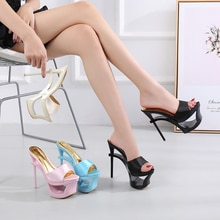Shoes Woman Summer Slippers Sliders Female+Shoes 2019 Platform Silk Strange Style Heel 15cm Satin Face Shoes Sandalias Mujer