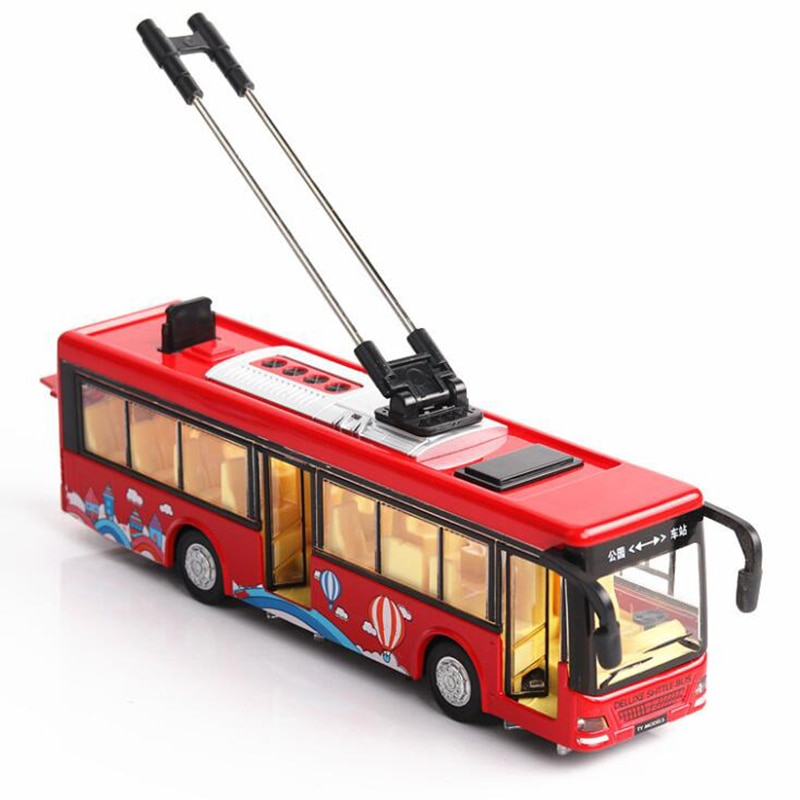 Coche de juguete de aleación metálica a escala 136 de 20,5 CM, autobús, trolley, autobús, coche de juguete con volados hacia atrás, modelo de vehículos, juguetes para niños, colección