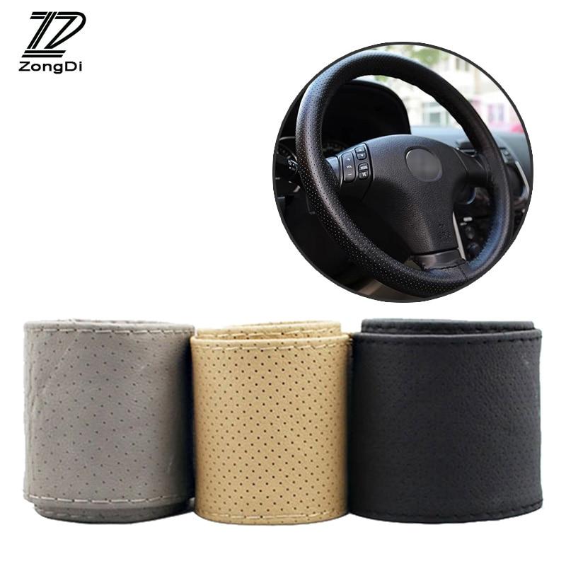 1 шт. чехол рулевого колеса автомобиля из натуральной кожи ручная строчка для Seat Leon Ibiza Renault Duster Megane 2 Logan Captur Clio