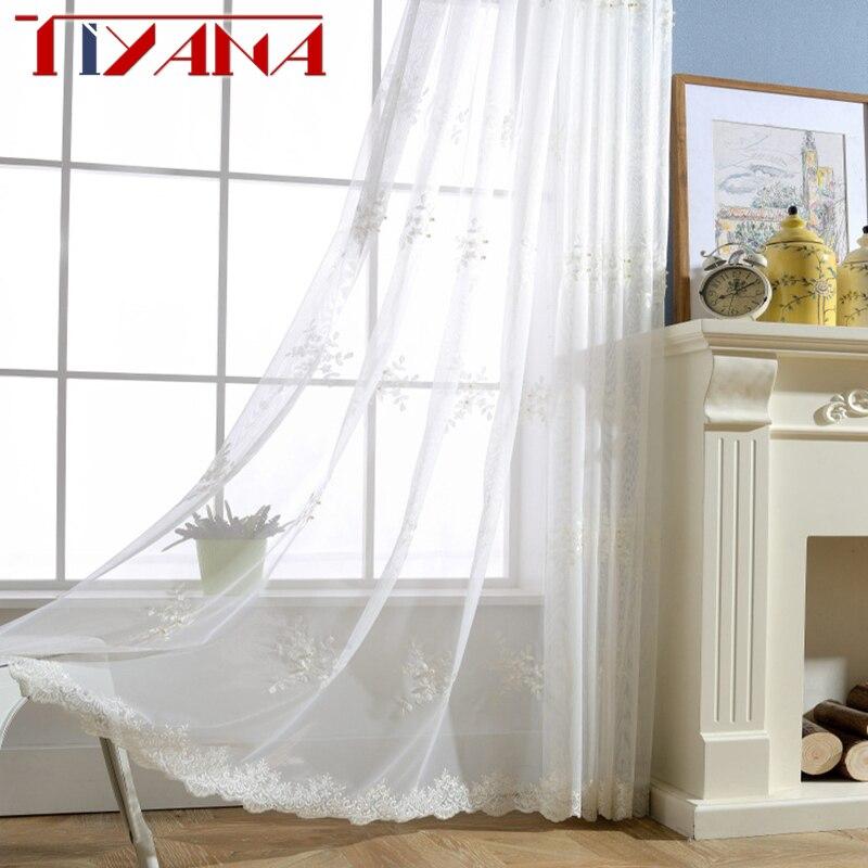 Nuevas Cortinas transparentes de gasa blanca bordadas con tul Floral transparente de perla para sala de estar dormitorio Visillos Cortinas wp226 y 2