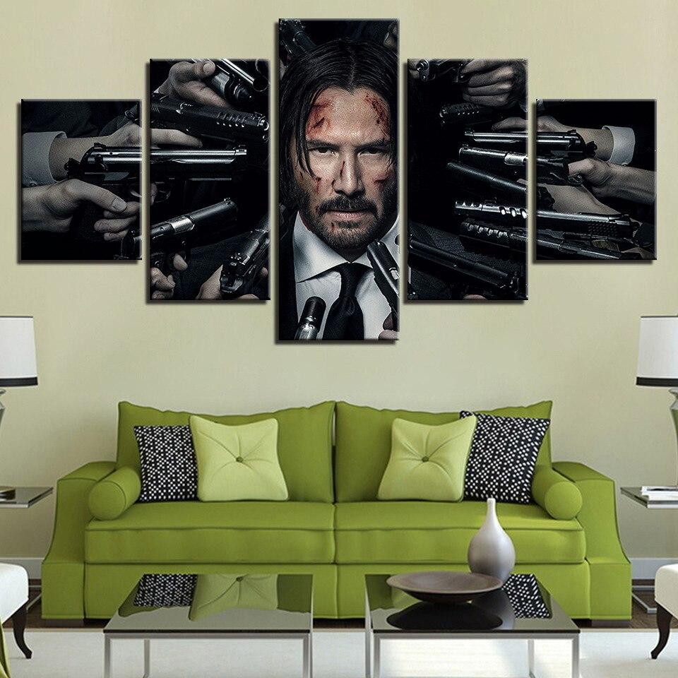 HD inkjet music restaurant inkjet combinación pintura decorativa películas europeas y americanas John Wick mural lienzo impreso