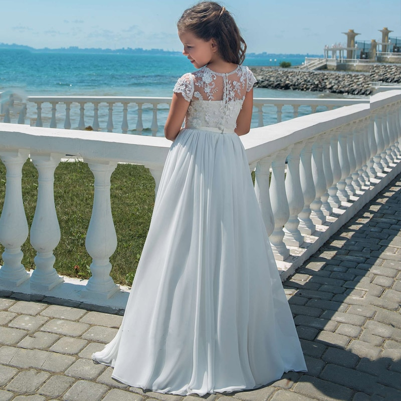 New Arrivals Lovely Princess Girls Lace Appliques Cap Sleeve Long Chiffon Wedding Gowns Flower Girls First Communion Dresses enlarge