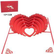 Cartes de vœux Pop-Up en 3D avec enveloppe   Carte postale découpée au Laser, faites à la main, pour la fête de la saint-valentin, fournitures cadeaux de mariage