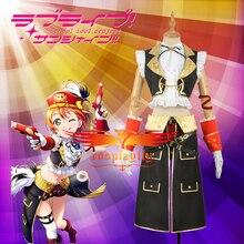 Anime amour en direct! Hoshizora Rin Pirate eveil Cosplay déguisement adulte femmes noir jupe gants plume chapeau Halloween noël